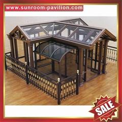 高級定做仿木紋鋁合金鋁制玻璃防風擋雨陽光房採光房溫室屋