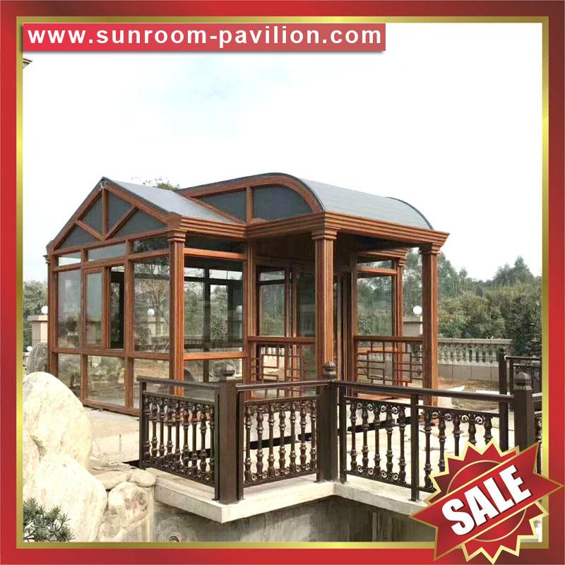 prefab modern new fashion aluminium alloy tempered glass sun house sunroom cabin 3