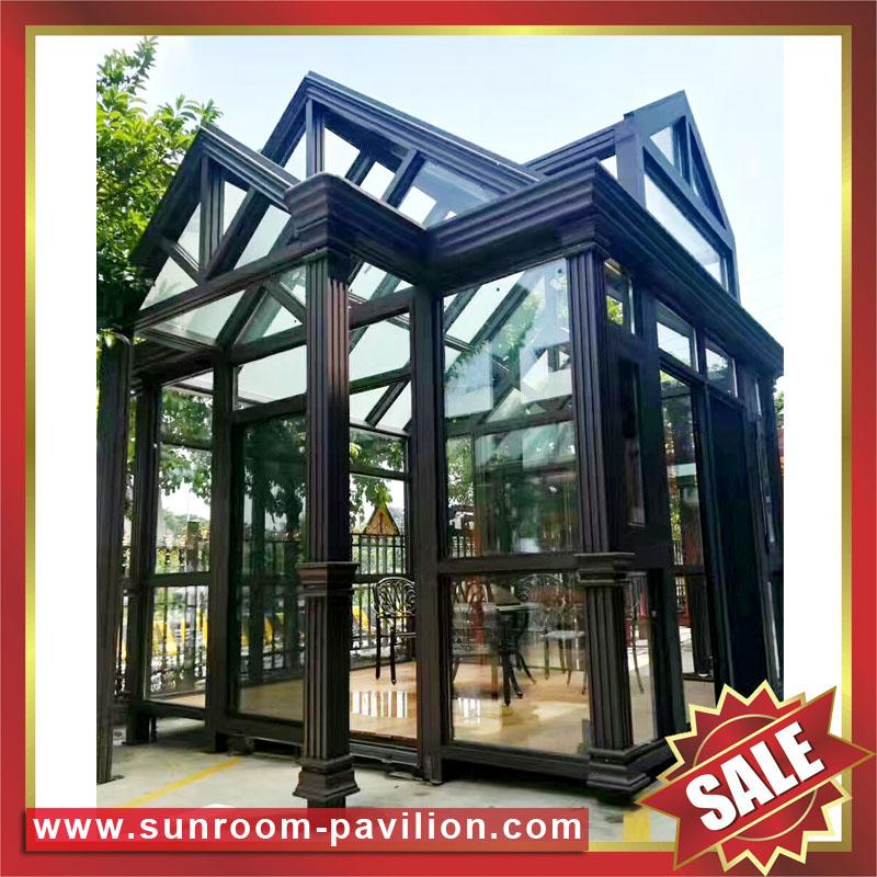 prefab modern new fashion aluminium alloy tempered glass sun house sunroom cabin 5