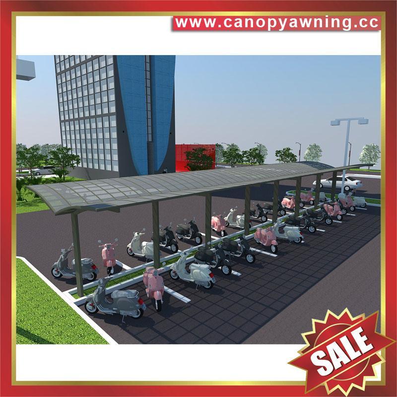 outdoor alu aluminum polycarbonate motorcycle bike bicycle parking canopy awning shelter china