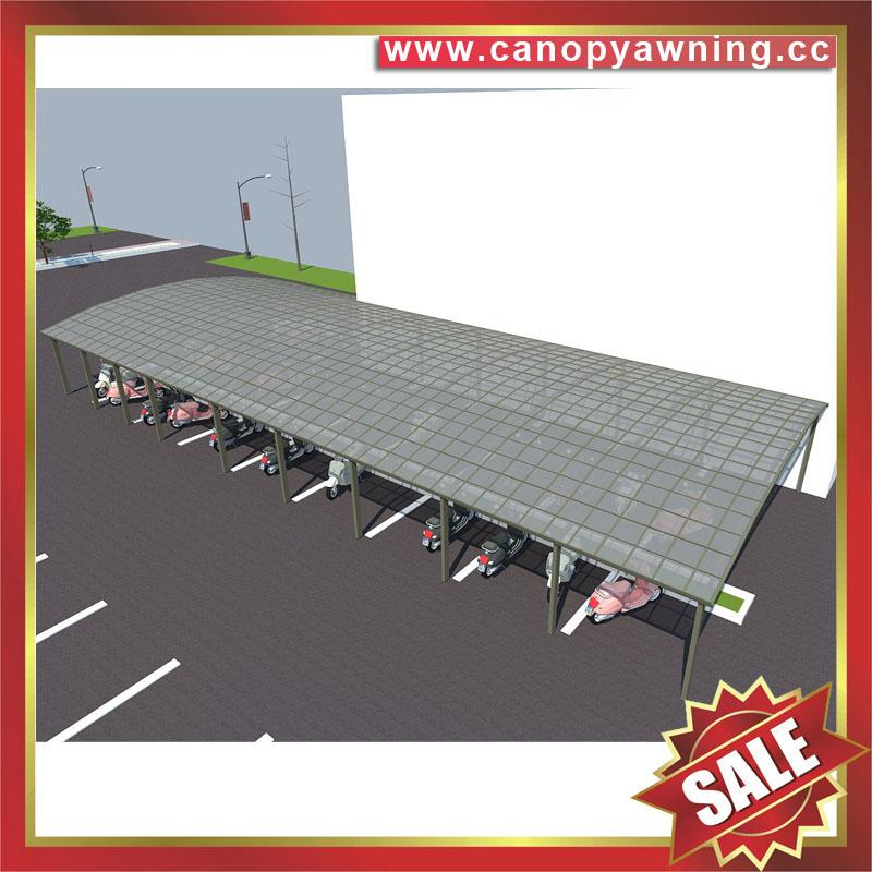public aluminum polycarbonate bicycle motorcycle parking shelter canopy awning 4