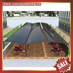 美观耐用公共大型聚碳酸酯PC金属铝合金车棚自行车棚单车棚车篷