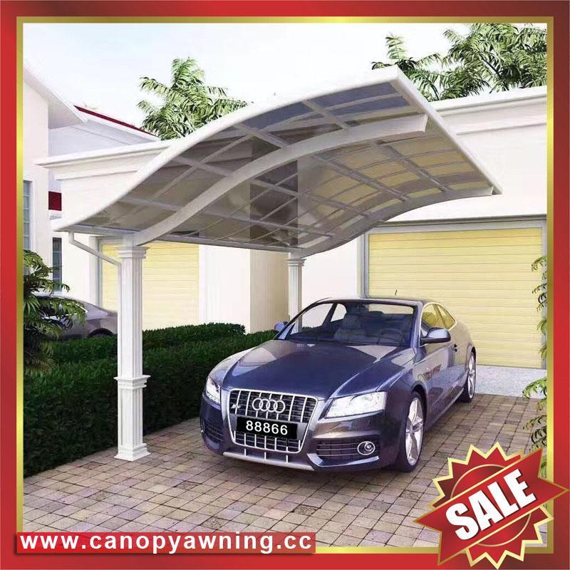 公園別墅小區廣場遮陽擋雨鋁合金鋁制金屬PC板雙位車棚蓬篷 5