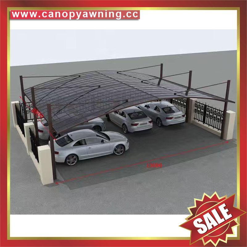 坚固耐用防紫外线别墅小区过道铝合金铝制双位合抱车棚 3