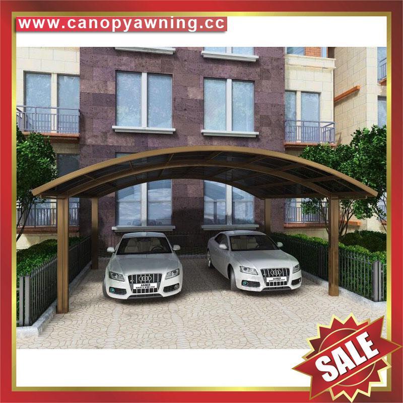 坚固耐用防紫外线别墅小区过道铝合金铝制双位合抱车棚 1