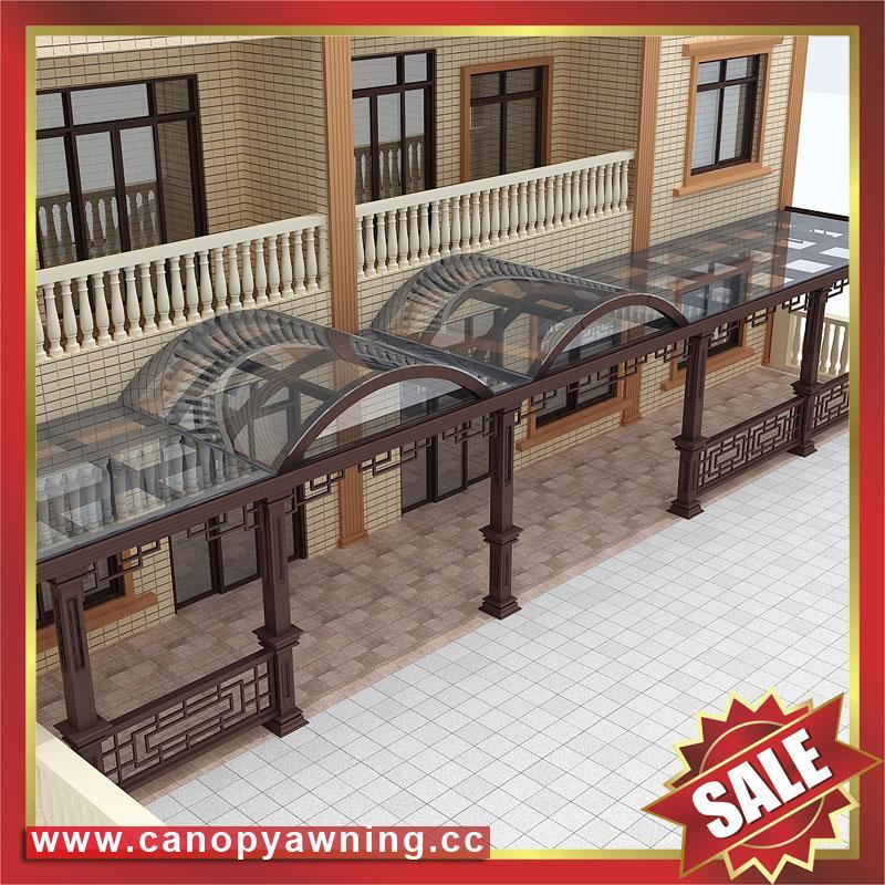 中式別墅門廊露臺鋁合金鋁制鋼化玻璃遮陽雨篷蓬棚 2