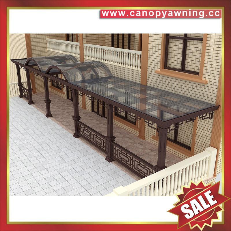 中式别墅门廊露台铝合金铝制钢化玻璃遮阳雨篷蓬棚 1