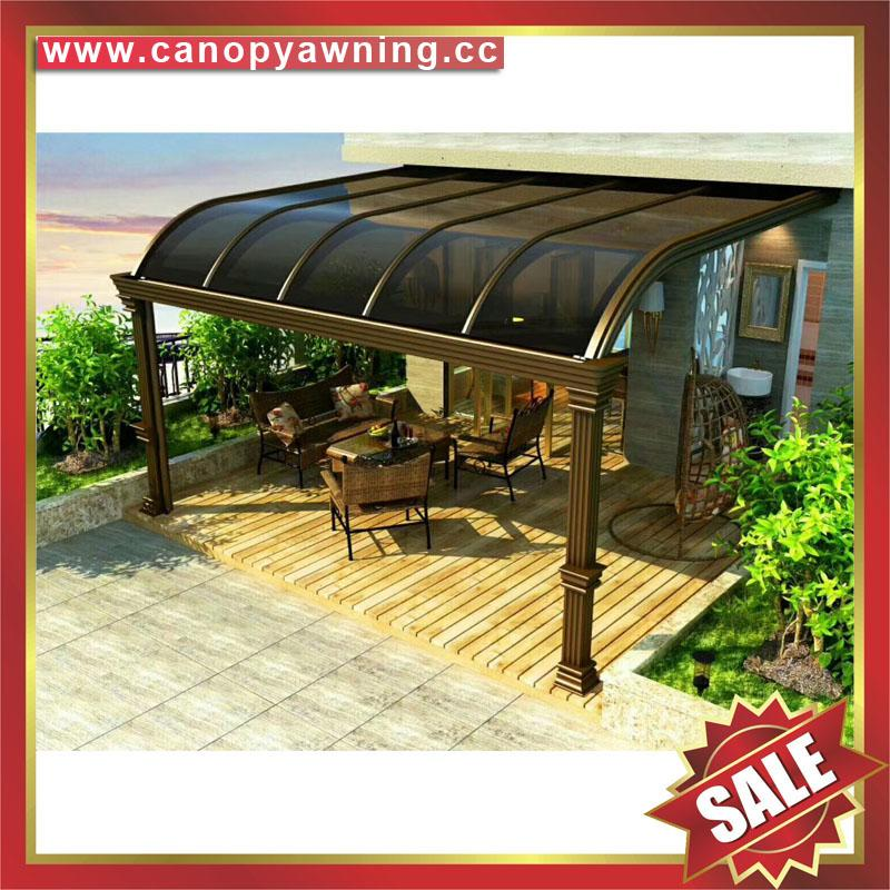 仿木紋鋁合金鋁制金屬PC耐力板陽台露台雨陽遮陽棚蓬篷 4