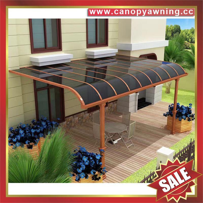仿木紋鋁合金鋁制金屬PC耐力板陽台露台雨陽遮陽棚蓬篷 1