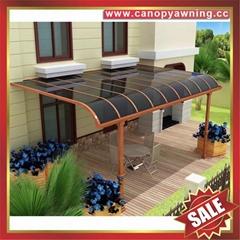 仿木纹铝合金铝制金属PC耐力板阳台露台雨阳遮阳棚蓬篷
