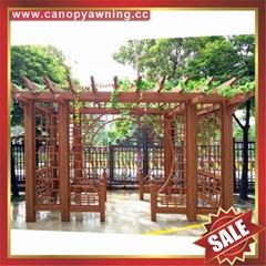 厂家直销坚固耐用古式仿木纹铝合金铝制葡萄架遮阳架