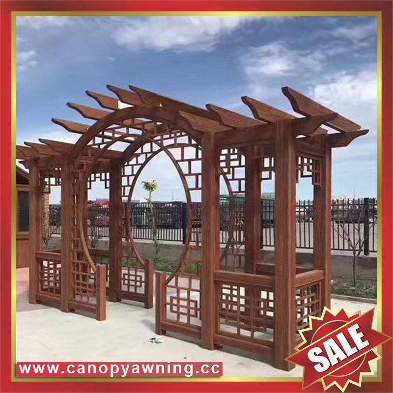 優質耐用園林公園小區走廊中式古式仿木紋金屬鋁制鋁合金葡萄架 2