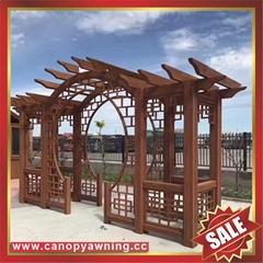 优质耐用园林公园小区走廊中式古式仿木纹金属铝制铝合金葡萄架