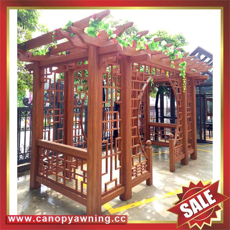 優質耐用園林公園小區走廊中式古式仿木紋金屬鋁制鋁合金葡萄架 3