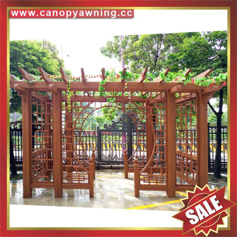優質耐用園林公園小區走廊中式古式仿木紋金屬鋁制鋁合金葡萄架 4