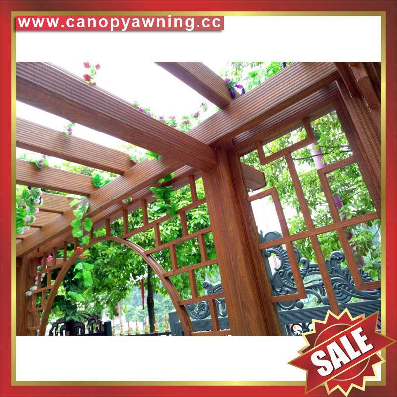 優質耐用園林公園小區走廊中式古式仿木紋金屬鋁制鋁合金葡萄架 5
