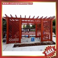 供應美觀耐用公園園林仿木紋中式隔熱遮陽鋁合金葡萄架樹藤架