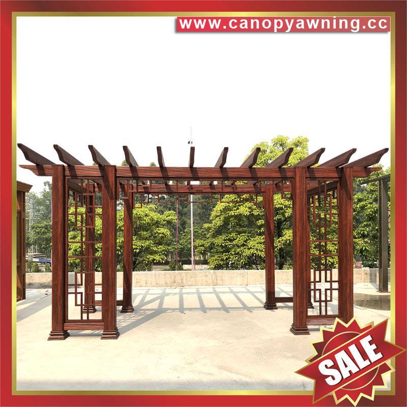 供应美观耐用公园园林仿木纹中式隔热遮阳铝合金葡萄架树藤架 3