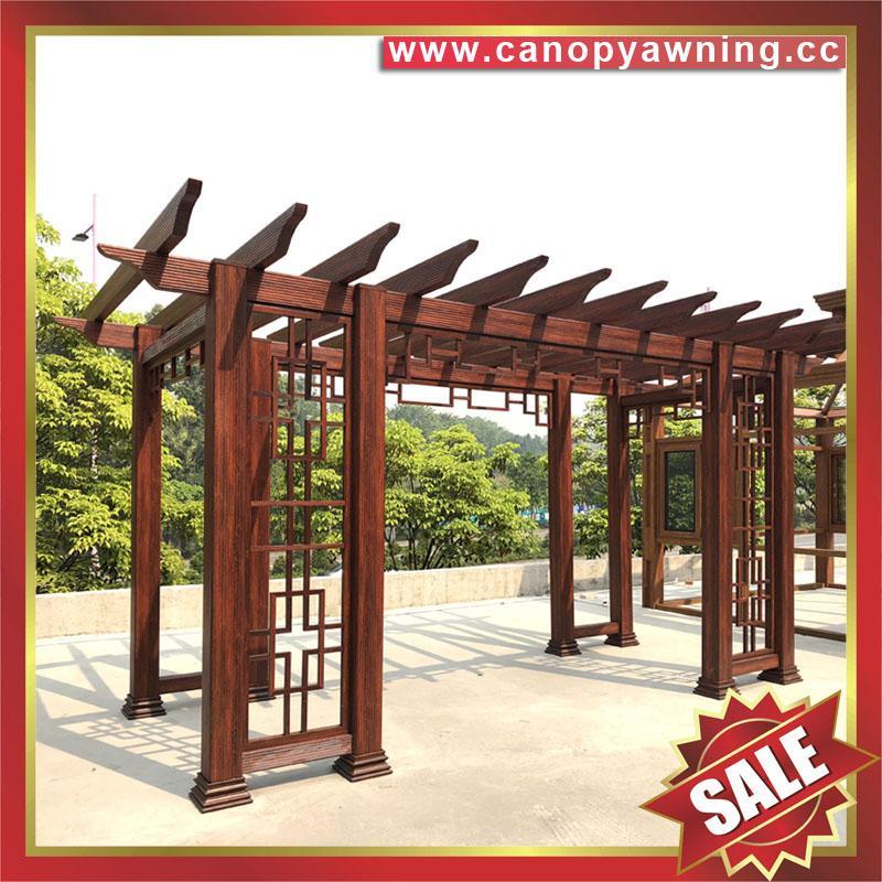 供應美觀耐用公園園林仿木紋中式隔熱遮陽鋁合金葡萄架樹藤架 4