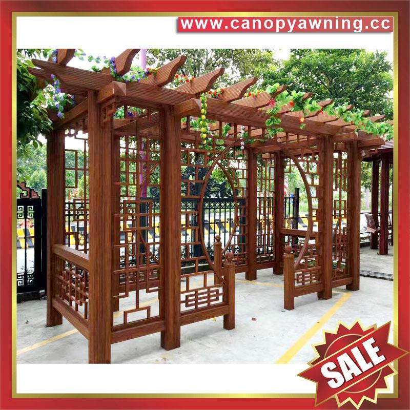 廠家直銷優質中式古式仿木紋鋁合金鋁制樹藤葡萄架 5