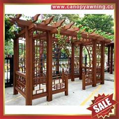 豪华中式仿古仿木园林金属铝合金铝制遮阳挡雨防晒葡萄架葡萄藤架
