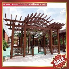 供应美观耐用公园园林仿木纹中式隔热遮阳铝合金葡萄架树藤架