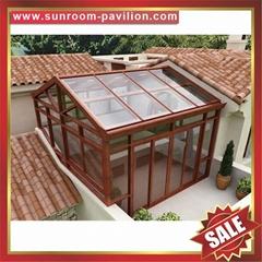 中式仿实木纹采光透光铝合金铝制玻璃透明阳光房温室屋