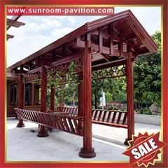 豪華中式仿古木紋公園園林鋁合金金屬鋁制涼亭遮陽擋雨乘涼亭子