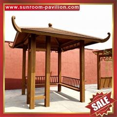 中式西式古式仿古仿木紋鋁合金鋁制公園園林遮陽雨防晒隔熱涼亭