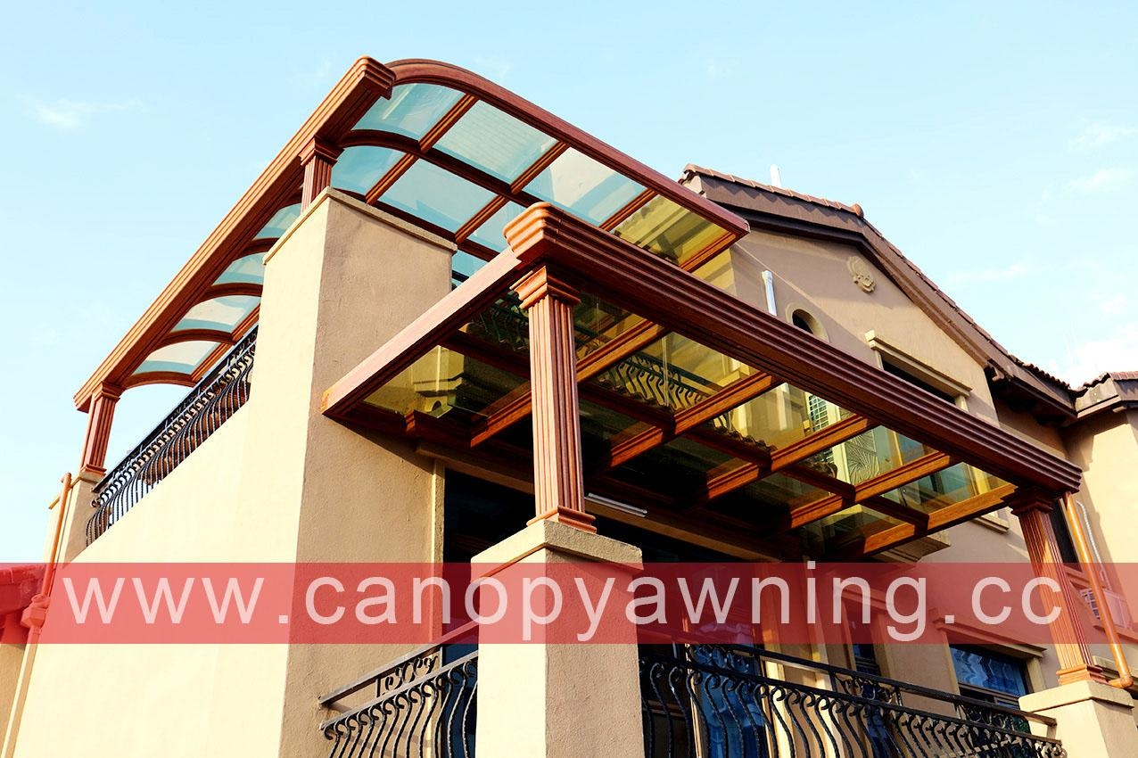 balcony glass aluminum canopy