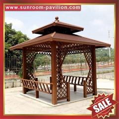 优质户外园林花园铝制铝合金仿木防晒遮阳休息乘凉亭子