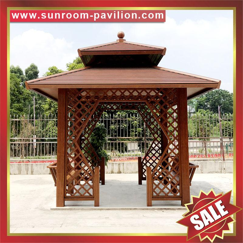 outdoor garden wood look aluminum metal gazebo pavilion pagoda gloriette 1