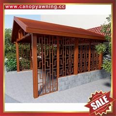 户外别墅铝合金铝制金属仿木纹木质隔热防晒挡雨乘凉亭子