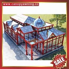 別墅花園公園仿木紋人字頂平頂鋁制鋁合金玻璃透明採光陽光房