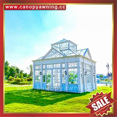 Prefab modern aluminium alloy tempered glass house sun room for villa cottage