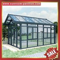 别墅花园仿实木纹透光休闲采光铝合金铝制玻璃阳光房