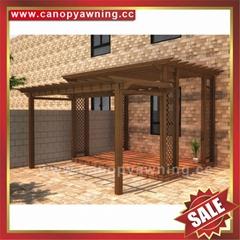 outdoor garden wood look alu aluminum metal shelter gazebo pergola grape trellies