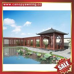 Chinese wood look style park garden aluminum alu metal gazebo pavilion gloriette
