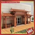 Prefabricated alu aluminum metal wood look gazebo pavilion gate canopy China