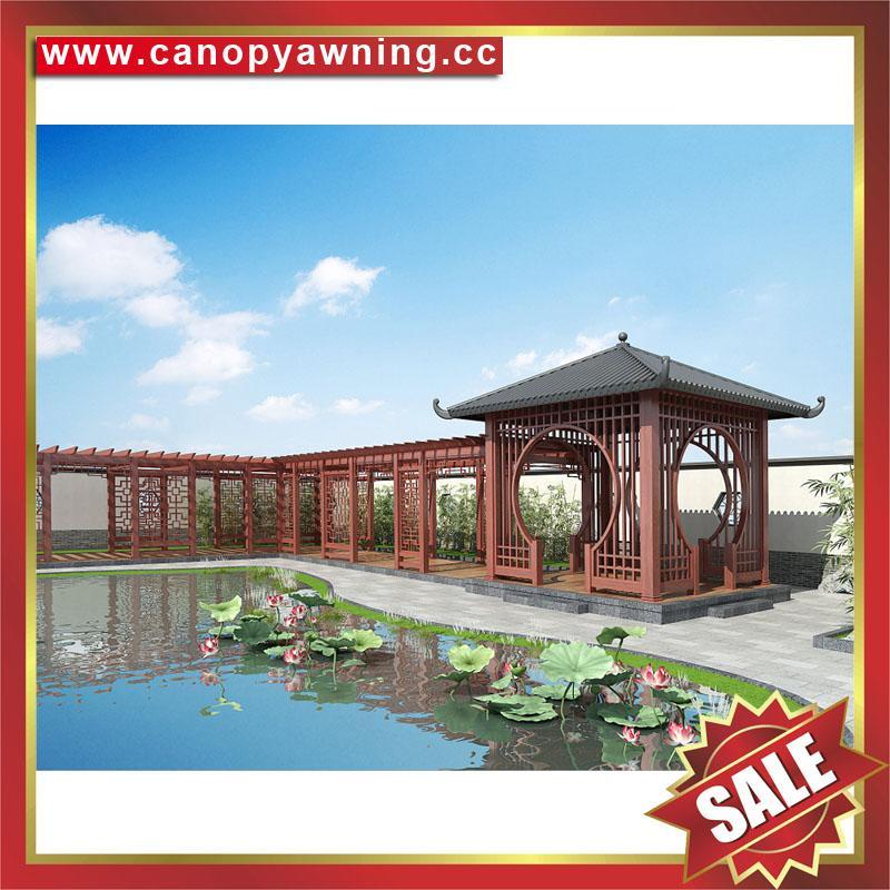 outdoor modern sunshade rain metal alu aluminum gazebo pavilion shed pergola 3