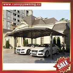 公園別墅小區廣場遮陽擋雨鋁合金鋁制金屬PC板雙位車棚蓬篷