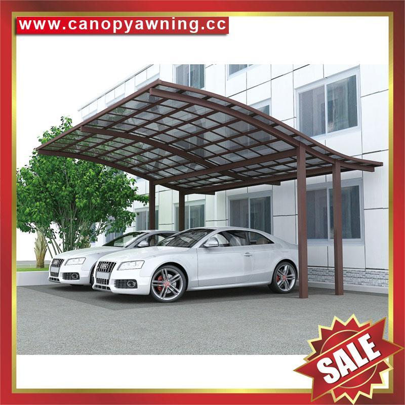 公園別墅小區廣場遮陽擋雨鋁合金鋁制金屬PC板雙位車棚蓬篷 2