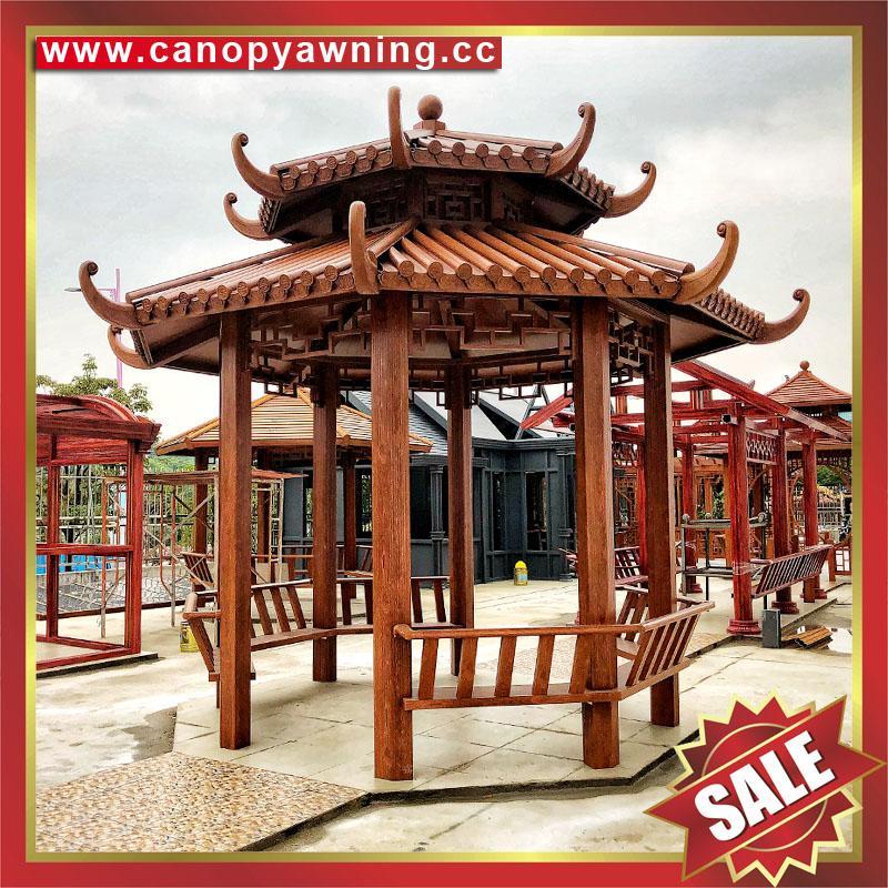 alu aluminum metal wood look garden outdoor gazebo pavilion shelter canopy cover China