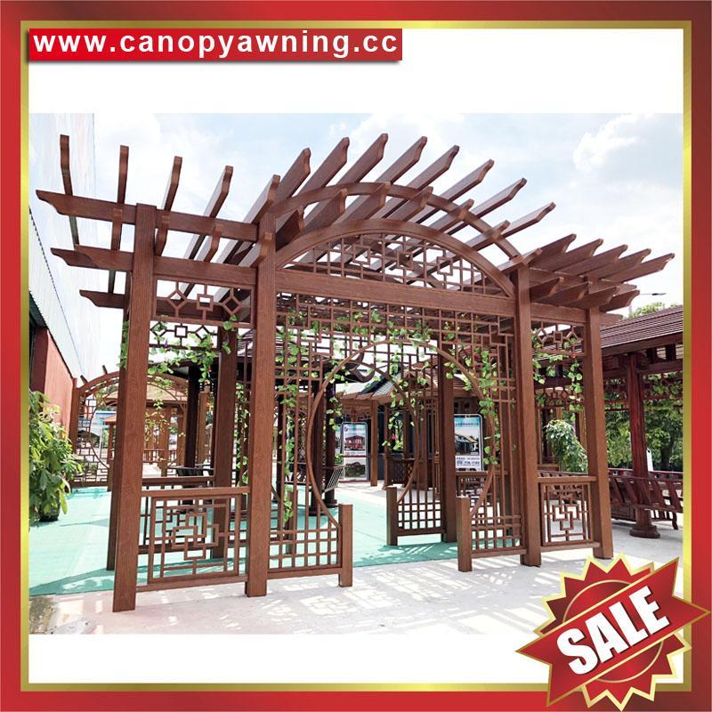供應美觀耐用公園園林仿木紋中式隔熱遮陽鋁合金葡萄架樹藤架 2