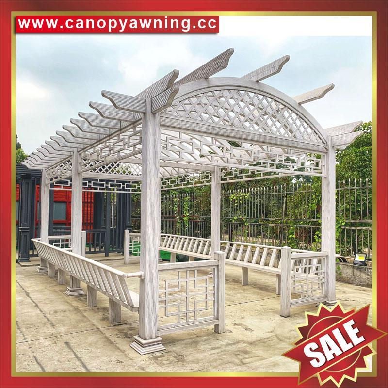 優質耐用園林公園小區走廊中式古式仿木紋金屬鋁制鋁合金葡萄架 1