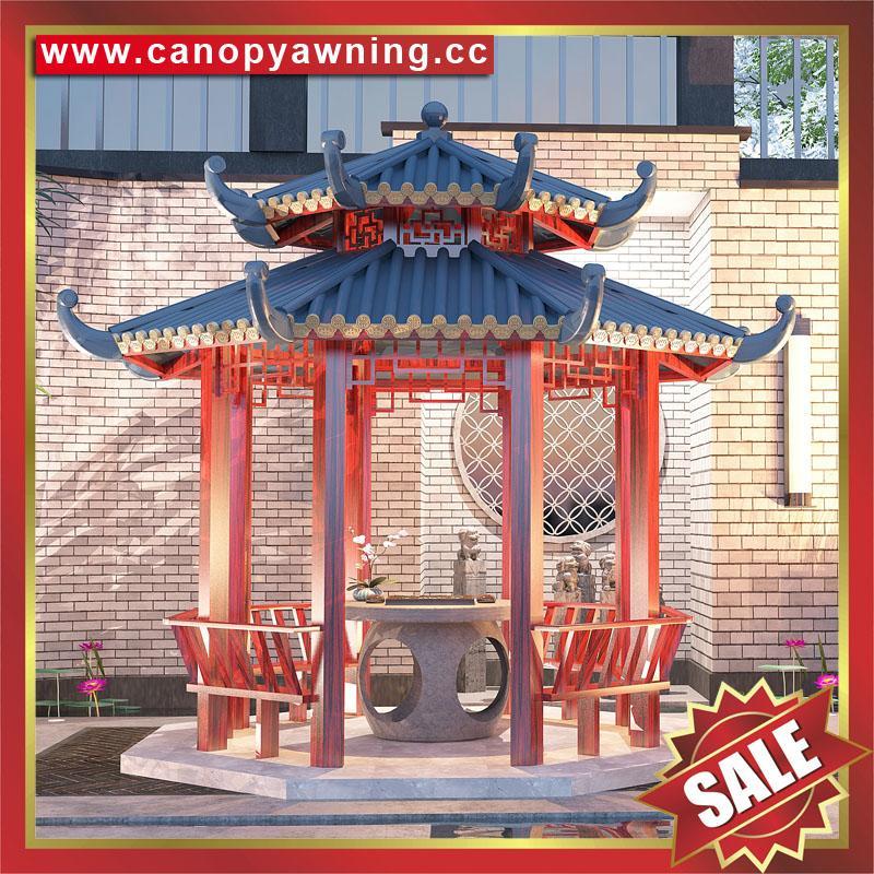 outdoor garden wood look metal aluminum gazebo pavilion canopy shelter awning 5