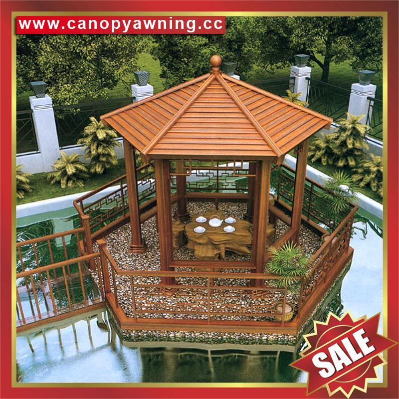 优质户外园林花园铝制铝合金仿木防晒遮阳休息乘凉亭子 2