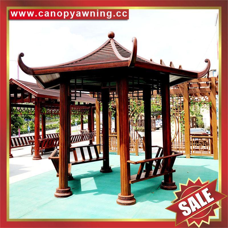 优质户外园林花园铝制铝合金仿木防晒遮阳休息乘凉亭子 4