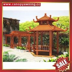 Chinese wood look garden aluminum alu gazebo pavilion pagoda gloriette shelter