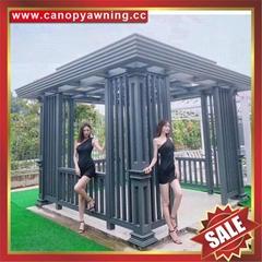 楼盘小区园林公园铝合金铝制金属中式西式仿木纹休闲防晒凉亭